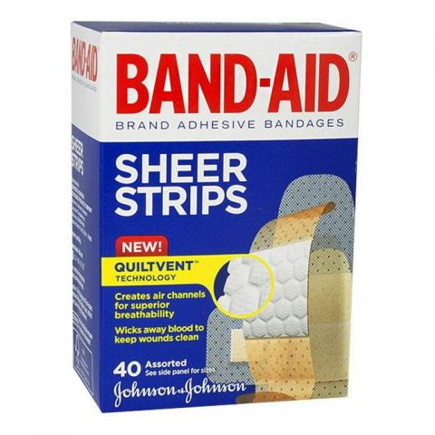 JNJ BAND-AID 40ct SHEER STRIPS (100466600) (5PK)