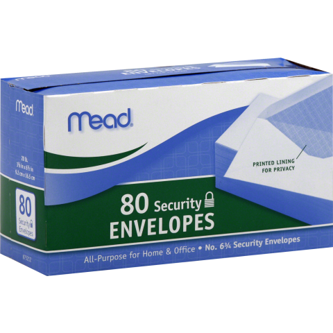 MEAD WHITE ENVELOPES 80ct (75212) SECURITY (CS)