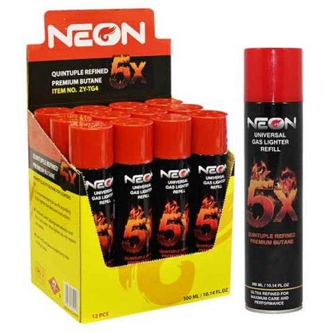 NEON GAS LIGHTER 5X REFILL 300ml (BX)