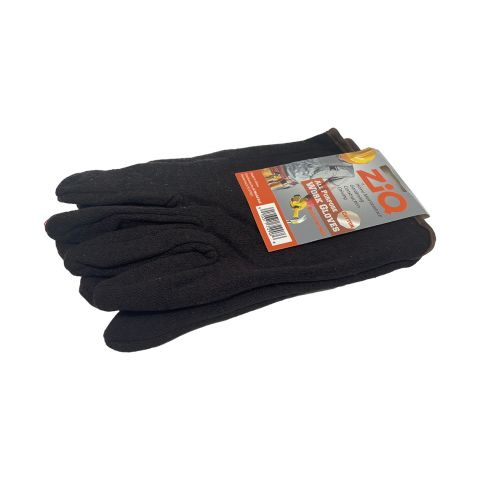 ZIQ WORK GLOVES BRWN JERSEY / RED LINED COTTON (PK)